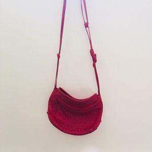 Vintage leather weave crossbody bag